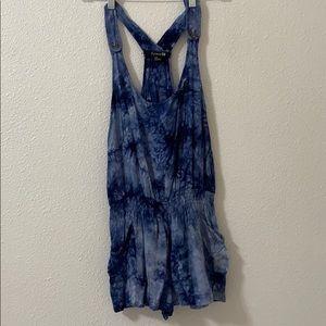Blue tie dye romper